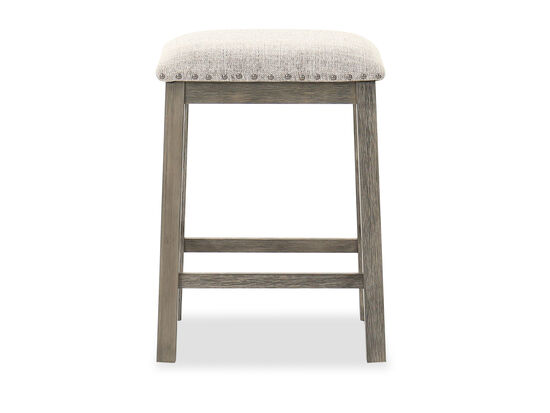 Nailhead Trim Backless Stool in Brown