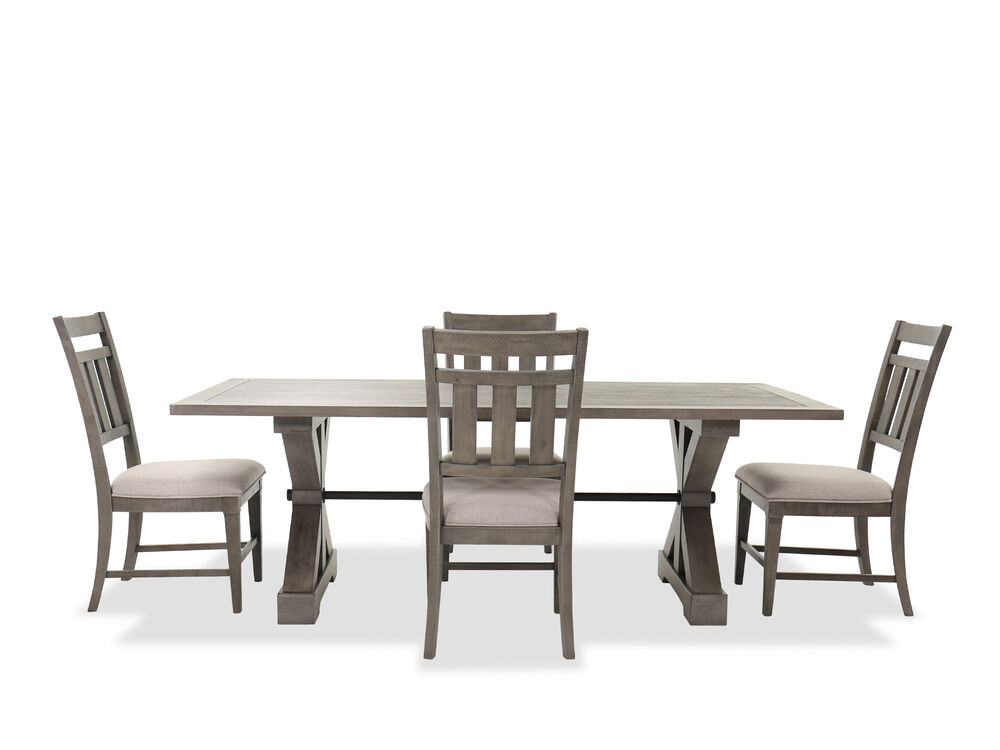 Transitional Five Piece Dining Set In Gray Mathis Brothers