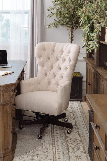 Button Tufted Swivel Desk Chairin Natchez Brown