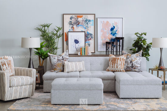 Two-Piece Contemporary Tufted Storage Sectional in Gray