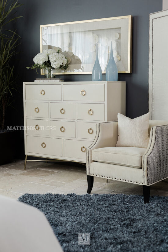 Nailhead-Trimmed Chair in Almond