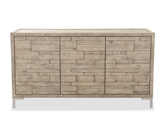 "35"" Modern Planked Buffet in Light Brown"