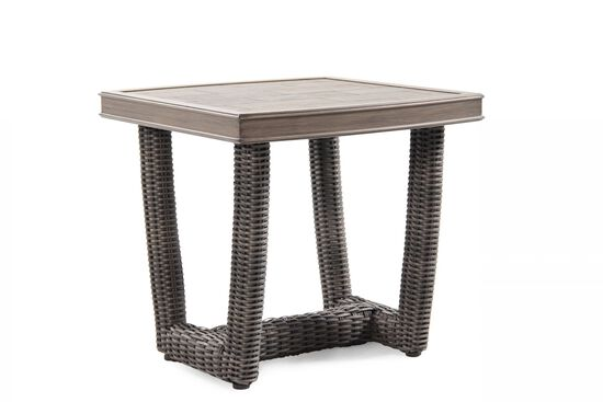 Contemporary Square Stone End Table in Medium Brown
