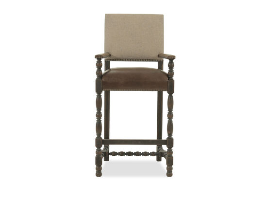 "Nailhead Accented 48"" Bar Stool in Brown"