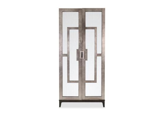 Five-Shelf Contemporary Curio Cabinet in Silver Leaf