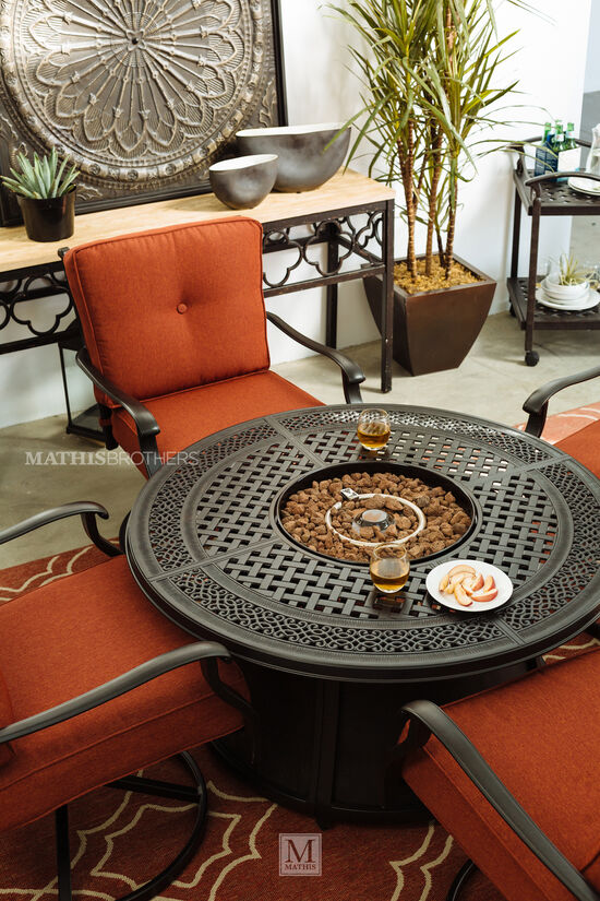 Lattice Cut-Out Aluminum Fire Pit in Dark Brown