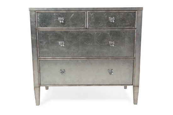 """35"""" Transitional Four-Drawer Mirrored Chest in Silver"""