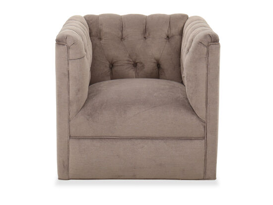 "Button-Tufted Traditional 31"" Swivel Chair in Brown"