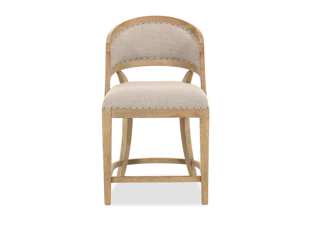 Nailhead Accented 39 Barrel Back Bar Stool In Beige Mathis Brothers Furniture