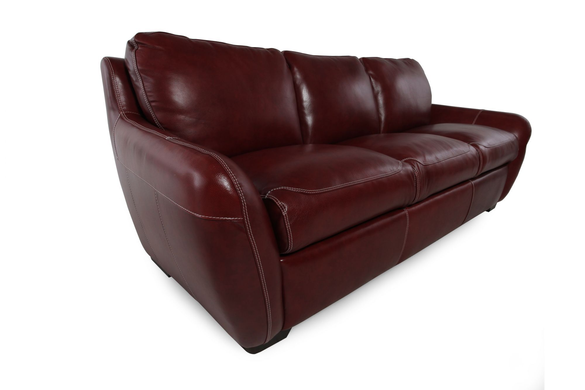 """Low-Profile 37"""" Leather Sofa in Salsa Red   Mathis ..."""