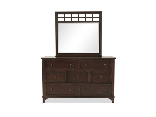 Two-Piece Casual Paneled Dresser and Mirror in Brown