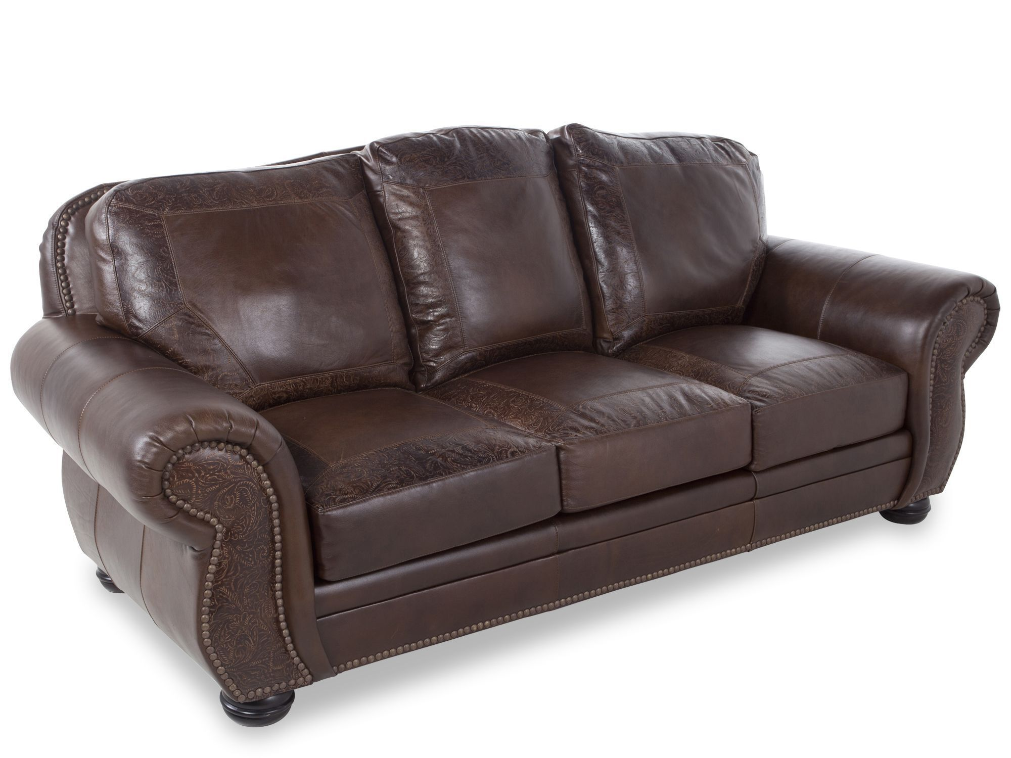 USA Leather Oak Paisley Sofa Part 47