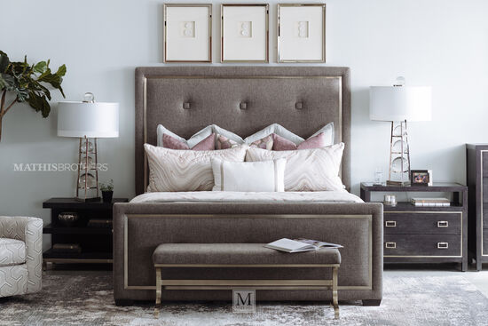 "72"" Casual Button-Tufted King Panel Bed in Gray"