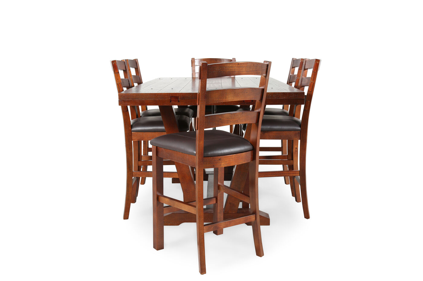 Seven-Piece Transitional Pub Set in Honey Oak | Mathis Brothers ...