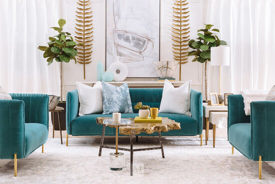 Contemporary Channel Tufted Sofa in Teal