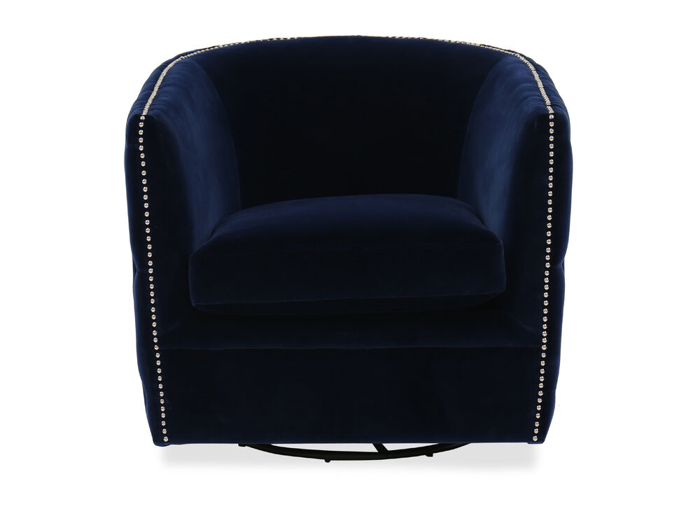 Nailhead Trimmed Contemporary Swivel Accent Chair In Blue