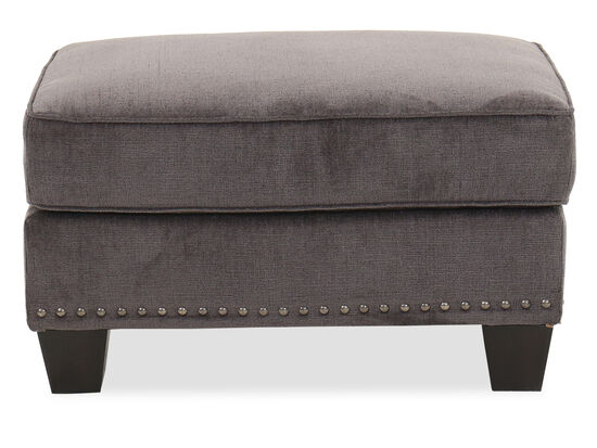 "Nailhead-Trimmed Contemporary 33"" Ottoman in Smoke"