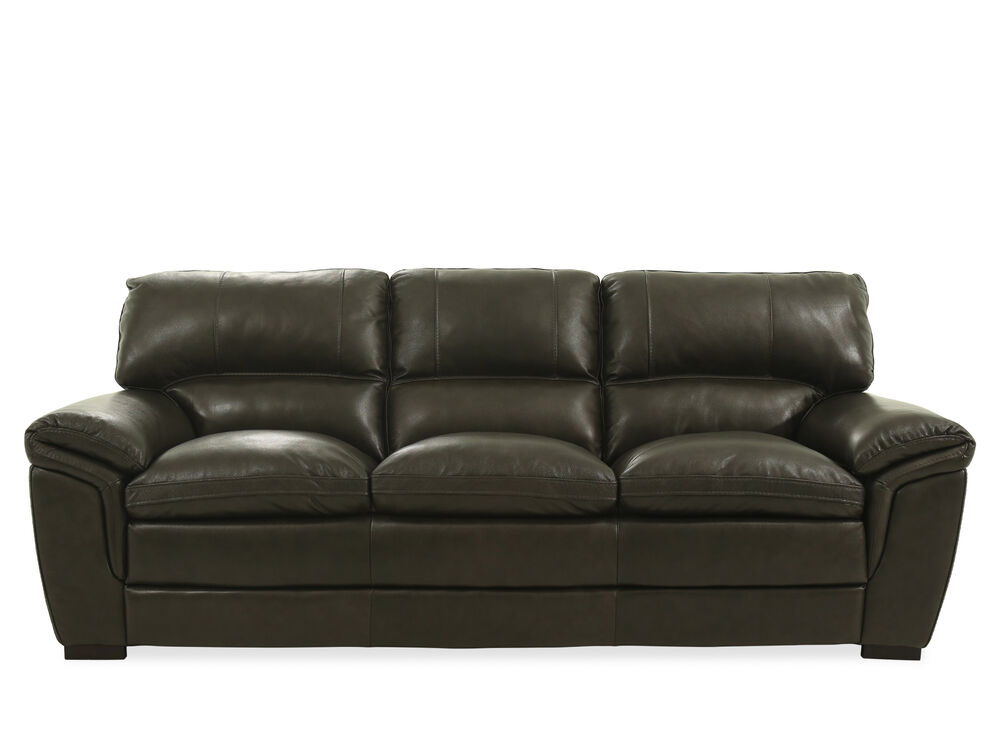 93 Quot Leather Sofa In Dark Gray Mathis Brothers Furniture