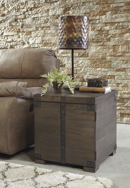 Square End Table in Grayish Brown
