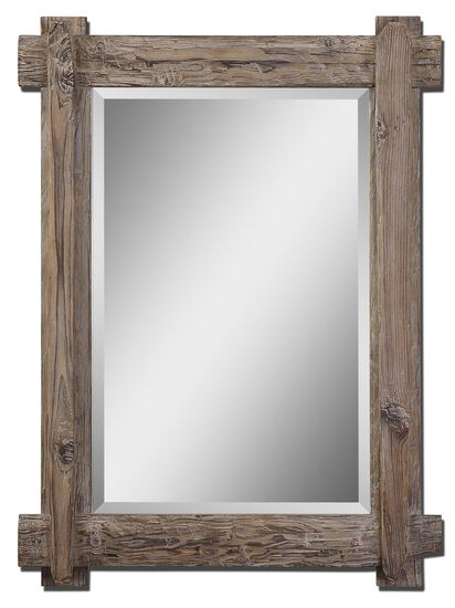 "39"" Burnished Wood Mirror in Light Walnut"