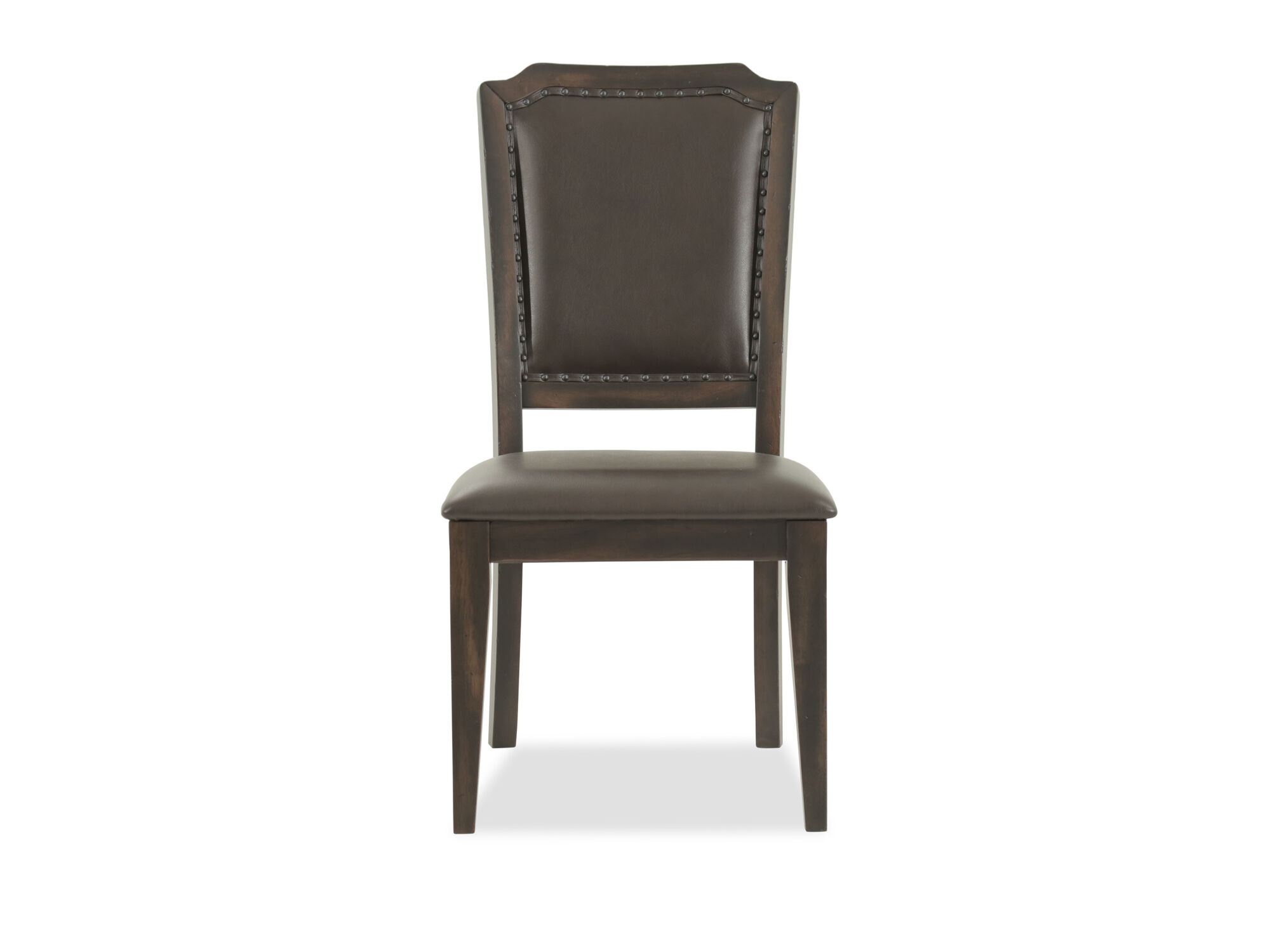 "Casual 41.5"" Nailhead-Accented Side Chair in Brown ..."