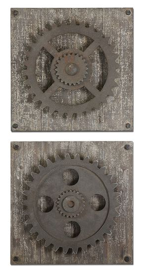 Two-Piece Distressed Gear Wall Art