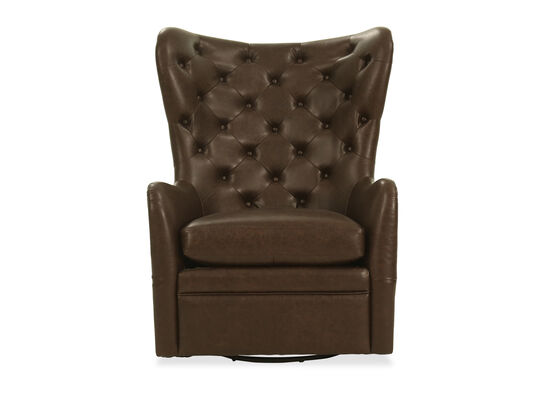 Contemporary Leather Swivel Chair in Brown