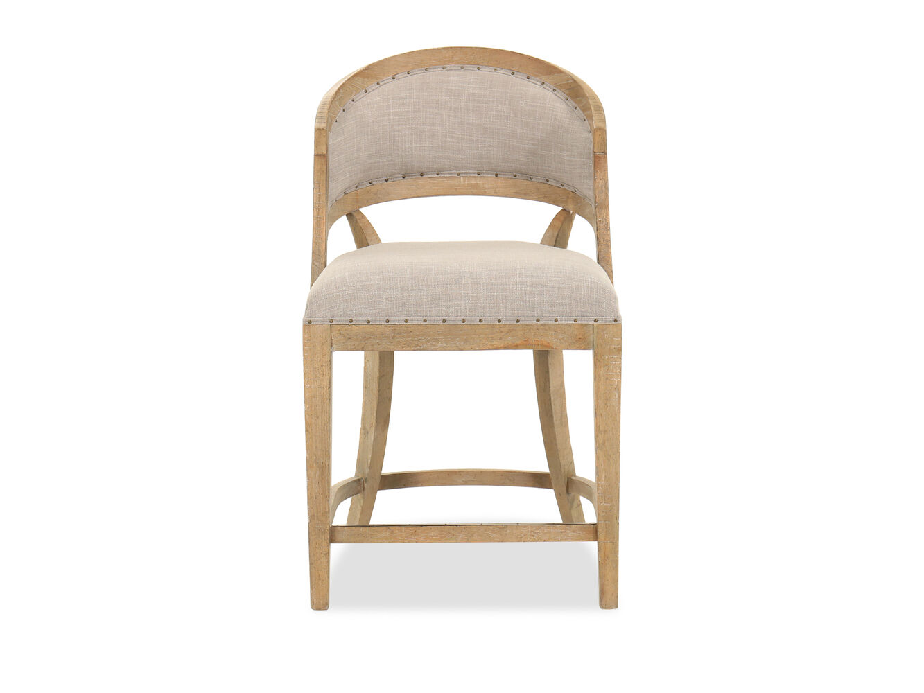 Nailhead Accented 39 Quot Barrel Back Bar Stool In Gray