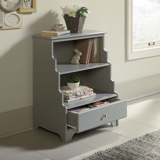 One-Drawer Casual Accent Bookcase in Gray