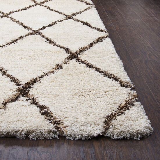 """Contemporary Hand-Tufted 7'6"""" x 9'6"""" Rectangle Rug in Beige"""