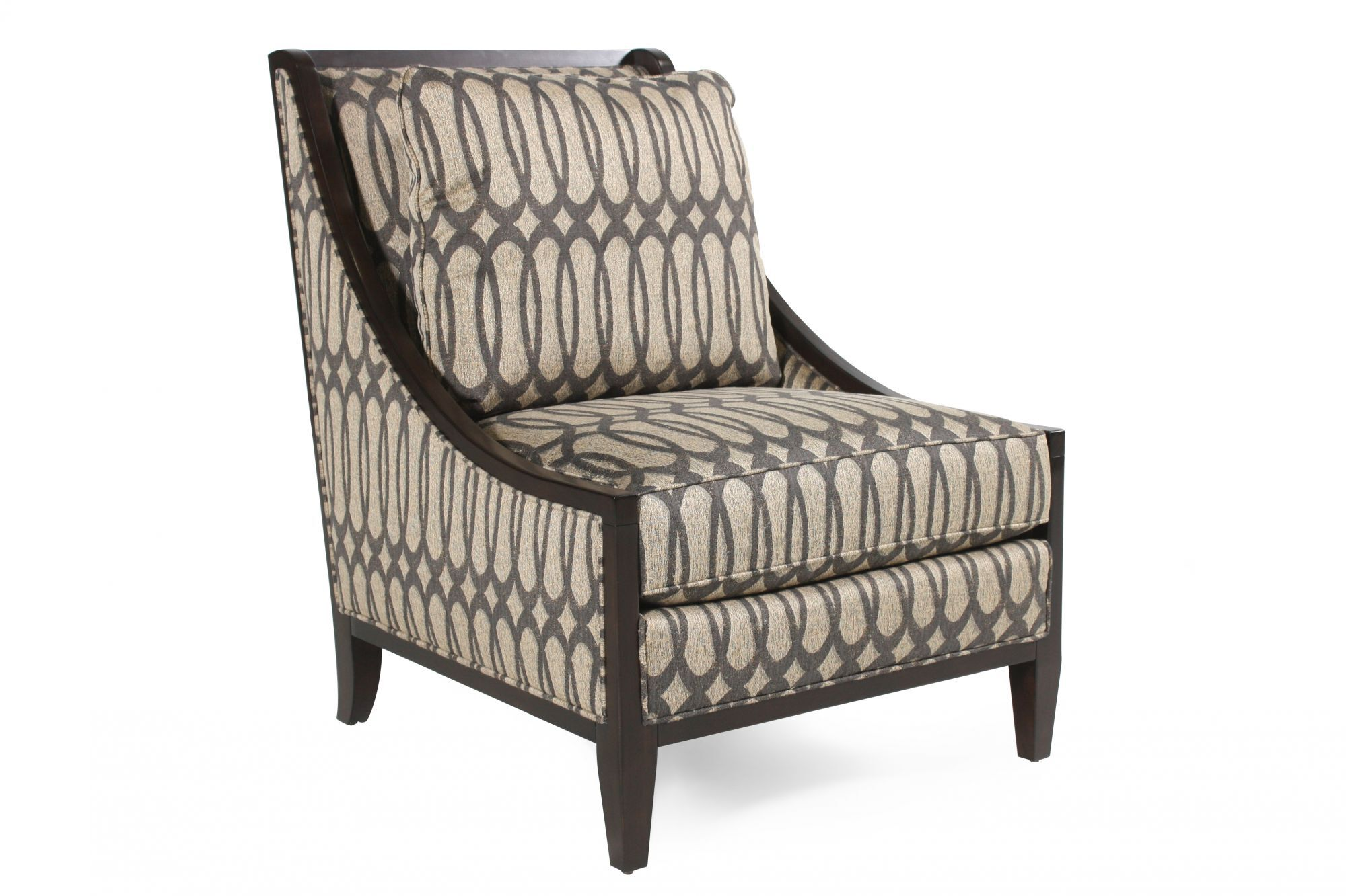 ovoid patterned contemporary accent chair in gray mathis. Black Bedroom Furniture Sets. Home Design Ideas
