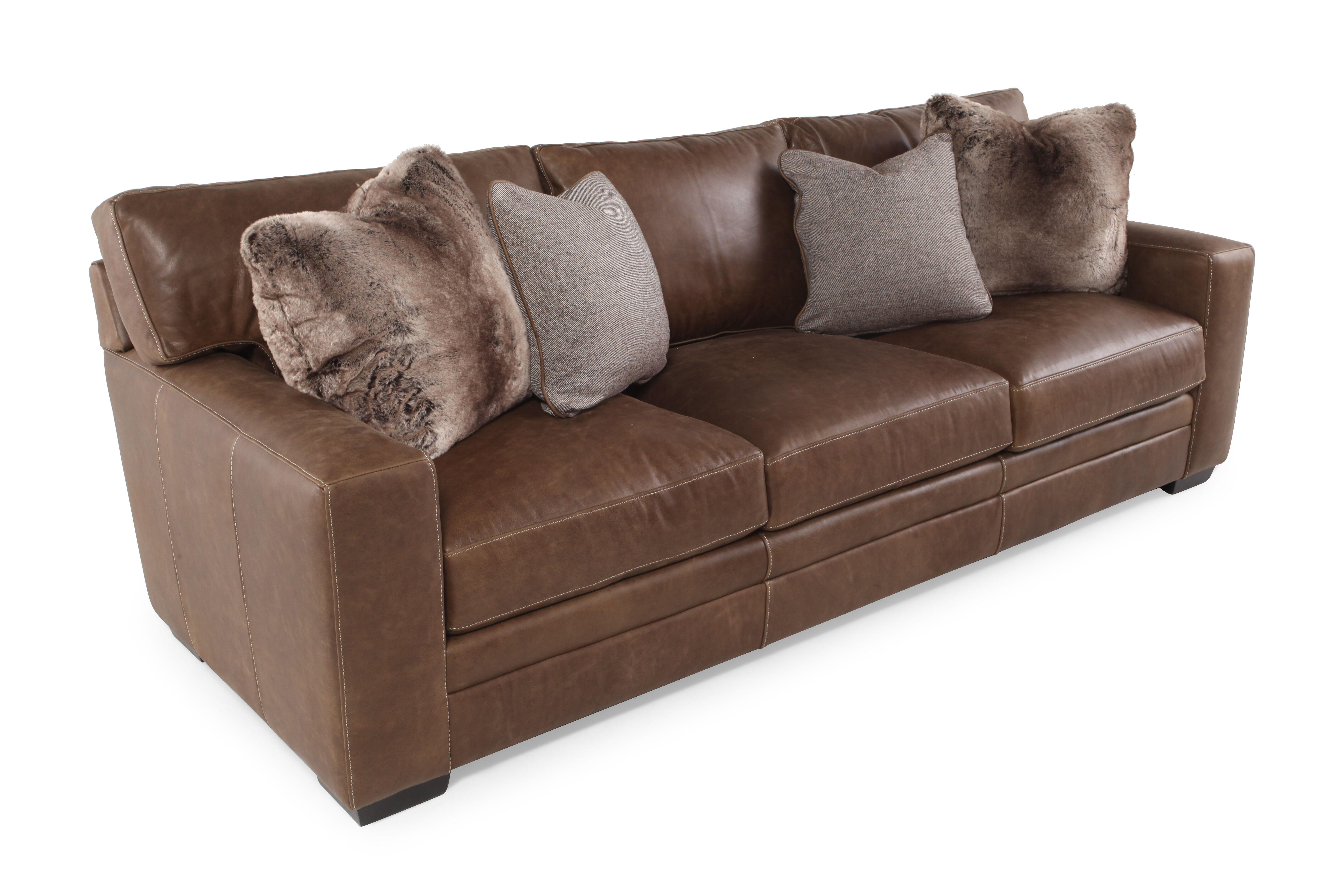 Low Profile Leather 98u0026quot; Sofa In Saddle Brown
