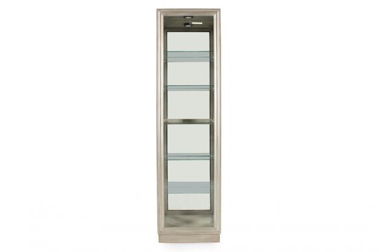 Five-Shelf Traditional Narrow Curio in Platinum Silver