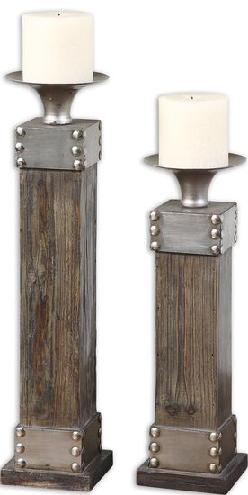 Two-Piece Candle Holder Set in Light Chestnut Stain