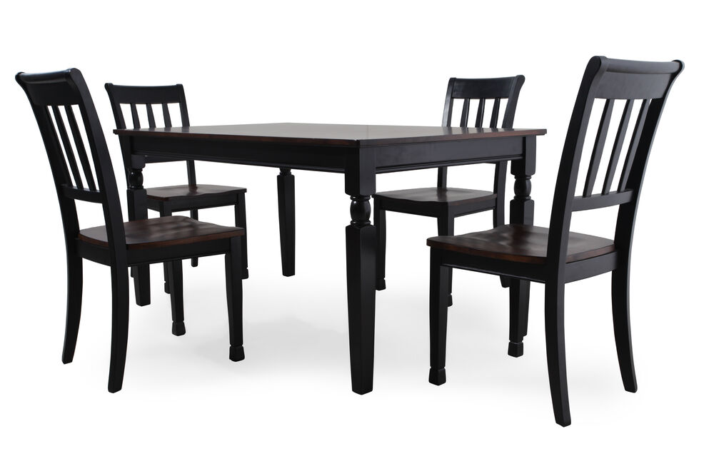 Five-Piece Casual 60'' Dining Set in Black