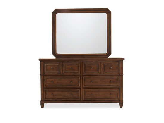 Two-Piece Six-Drawer Transitional Dresser and Mirror in Sienna