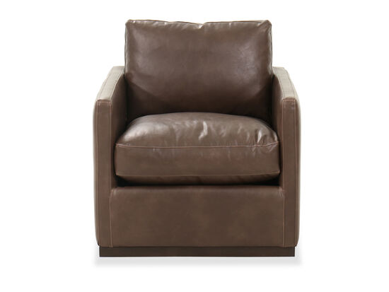Leather 30'' Swivel Club Chair in Chocolate
