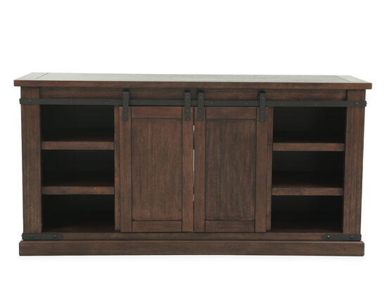 Sliding Door Casual Large TV Stand in Rustic Brown
