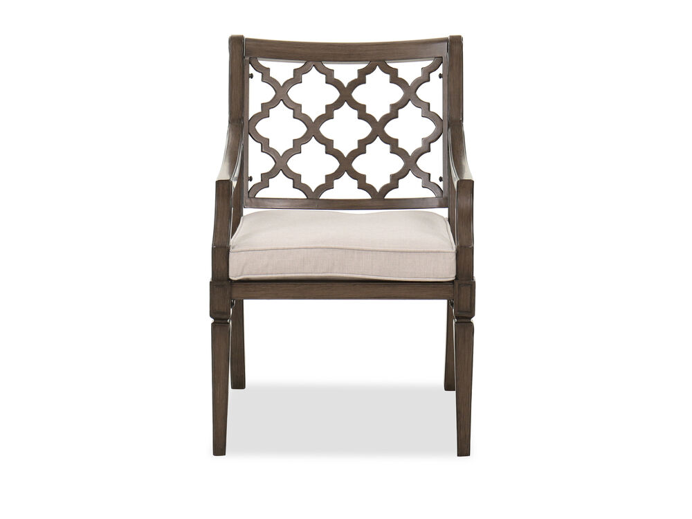 Trellis-Patterned Aluminum Patio Dining Arm Chair in Brown