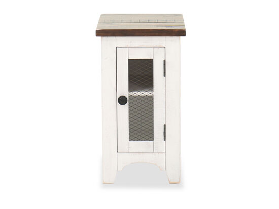"""14"""" Rustic Chairside End Table in Vintage White"""