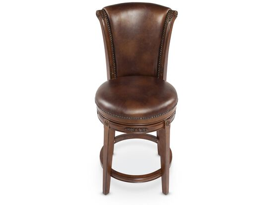 Nailhead Accented Bar Stool in Brown