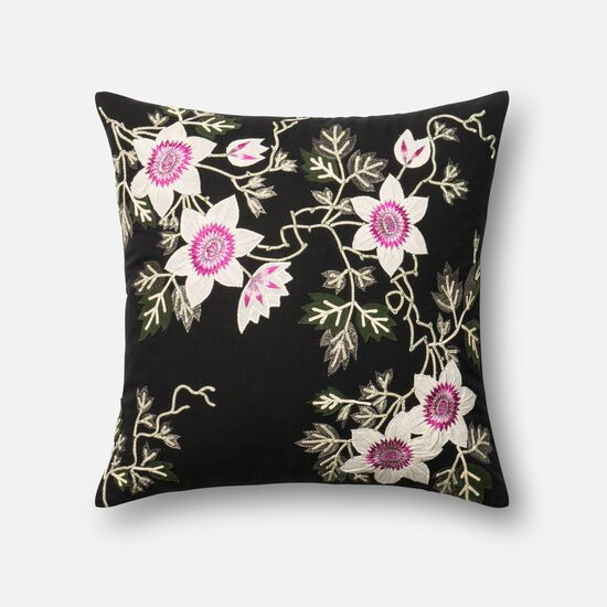 """Contemporary 22""""x22"""" Cover w/Down Pillow in Black/Ivory"""