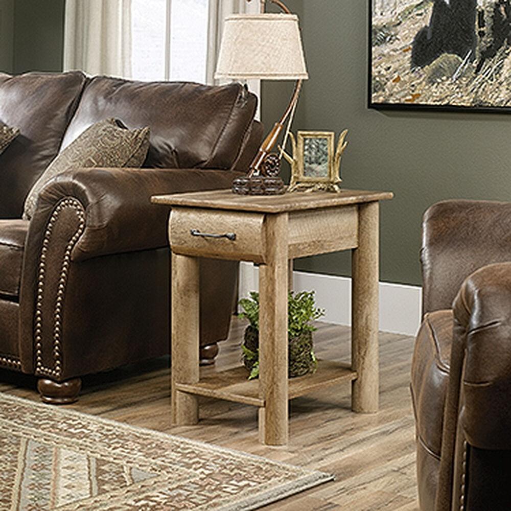 lodge log traditional side table in craftsman oak mathis. Black Bedroom Furniture Sets. Home Design Ideas