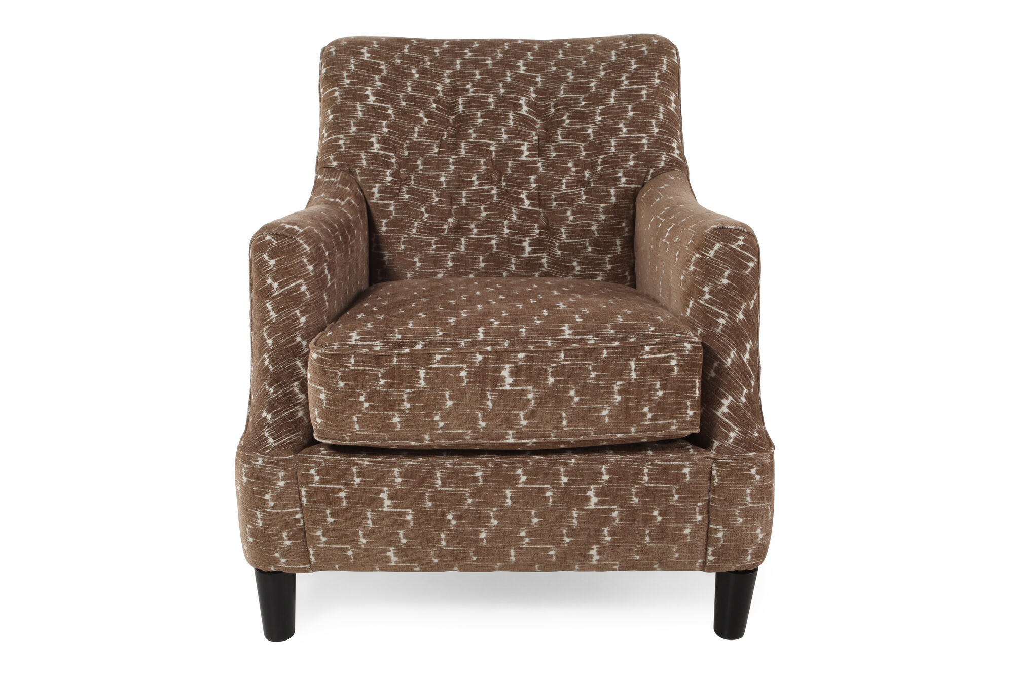 Button tufted microfiber 31 accent chair in cocoa mathis brothers furniture