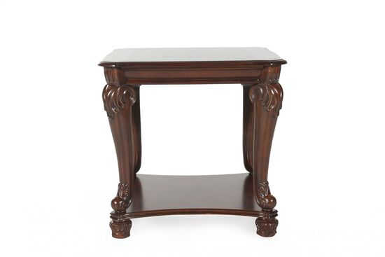 Traditional Rectangular End Table in Dark Brown