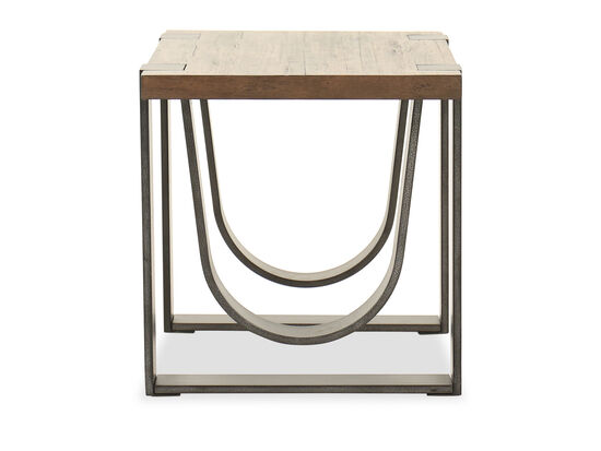 Contemporary Rectangular End Table in Rustic Honey