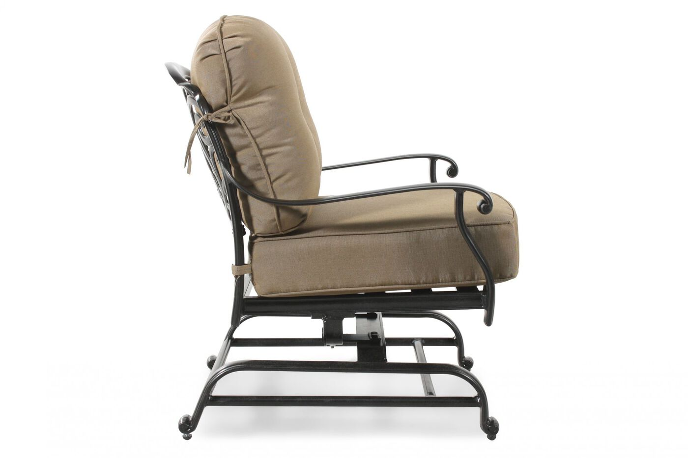 Button Tufted Aluminum Rocker Chair With Cushion In Khaki