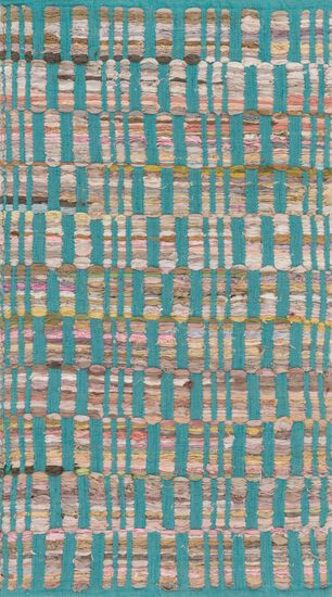 """Contemporary 1'-8""""x3' Rug in Turquoise"""