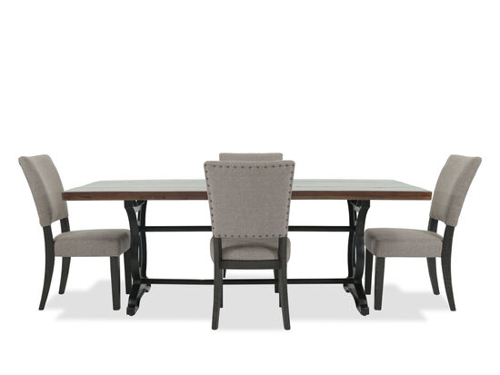 Five-Piece Nailhead Trimmed Casual 84'' Dining Set in Beige