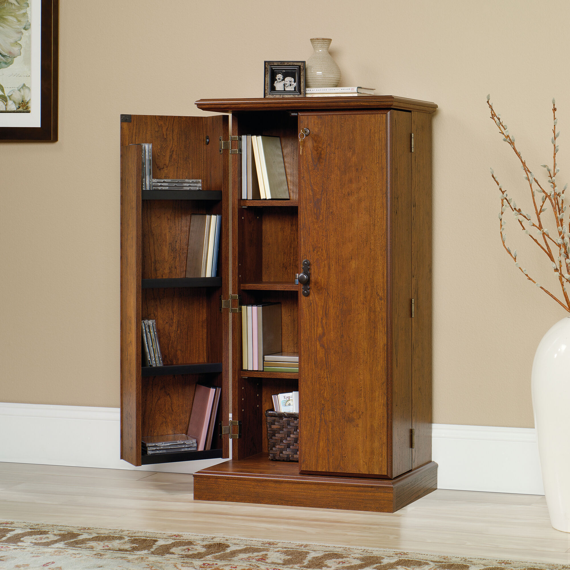 Two Door Traditional Multimedia Storage Cabinet In Milled Cherry
